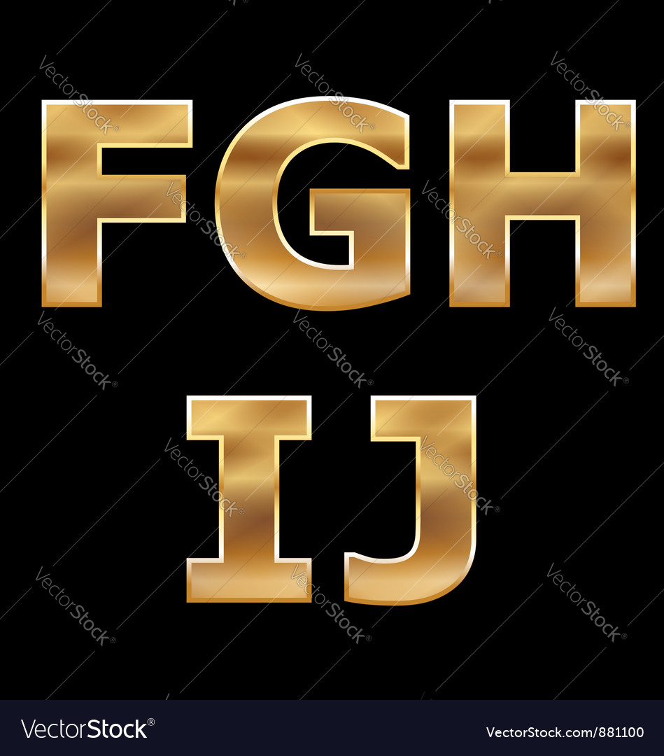 Gold letters set fj vector