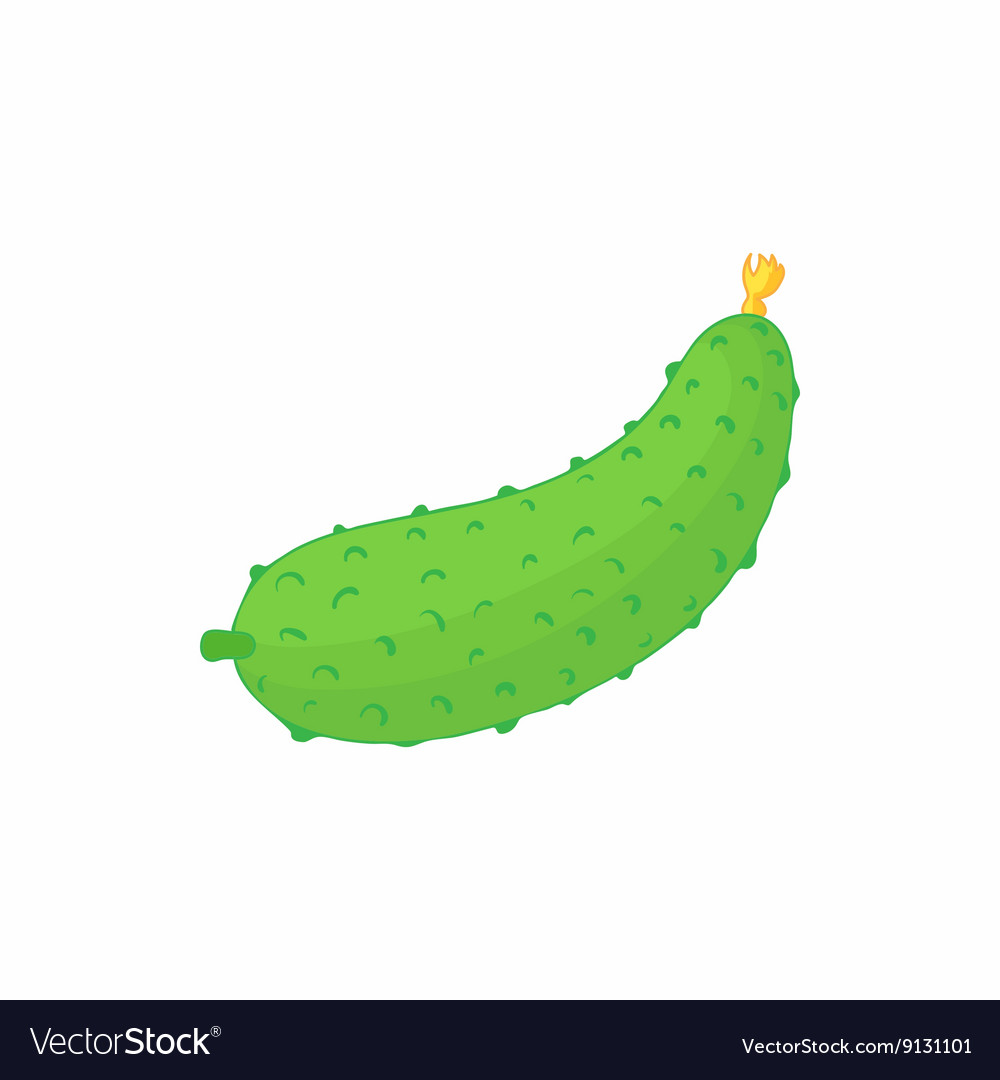 Cucumber icon in cartoon style vector