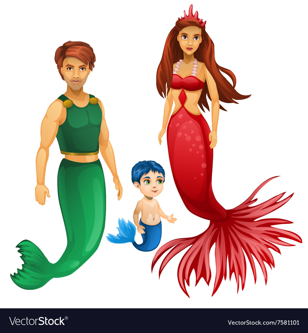 Family of mermaids mother father and child vector