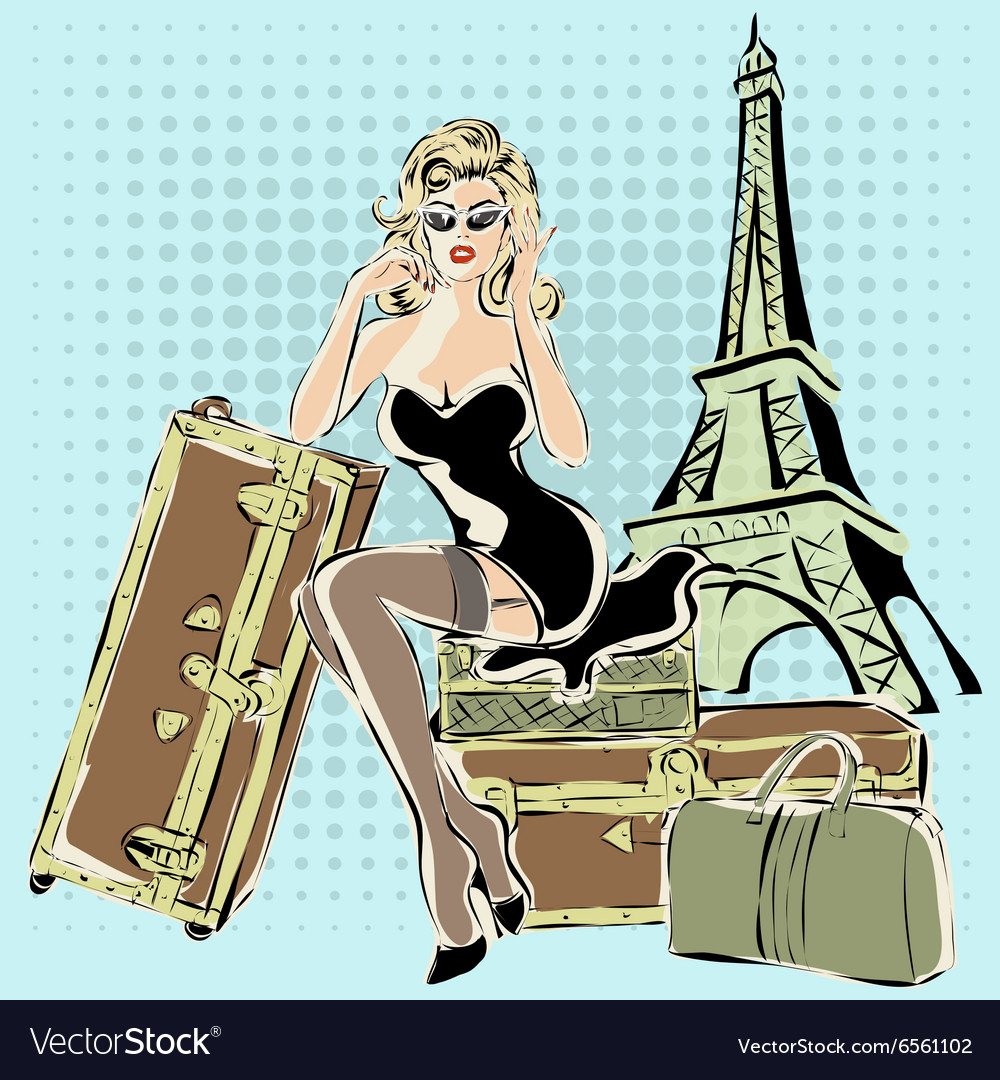 Beautiful pinup woman sitting on suitcases near vector