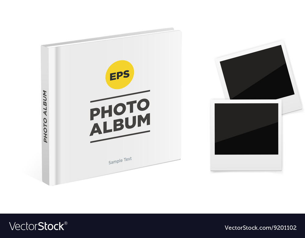 Photo album book with white cover vector