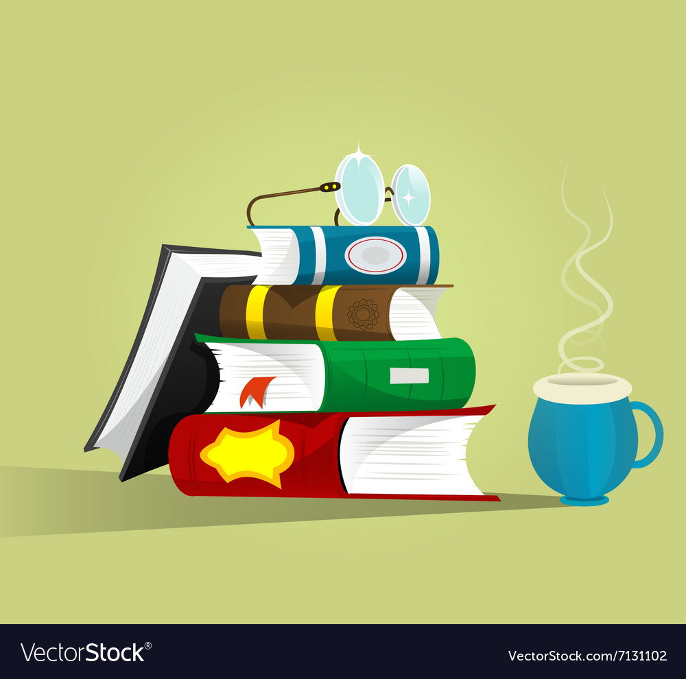 Stack of books with eyeglasses on top vector