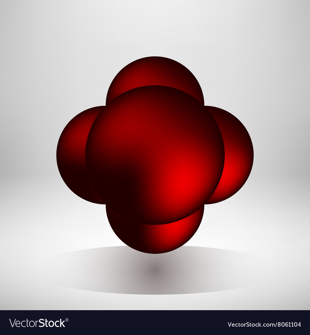 Red abstract bubble badge vector