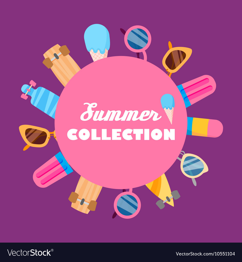 Summer collection of objects vector