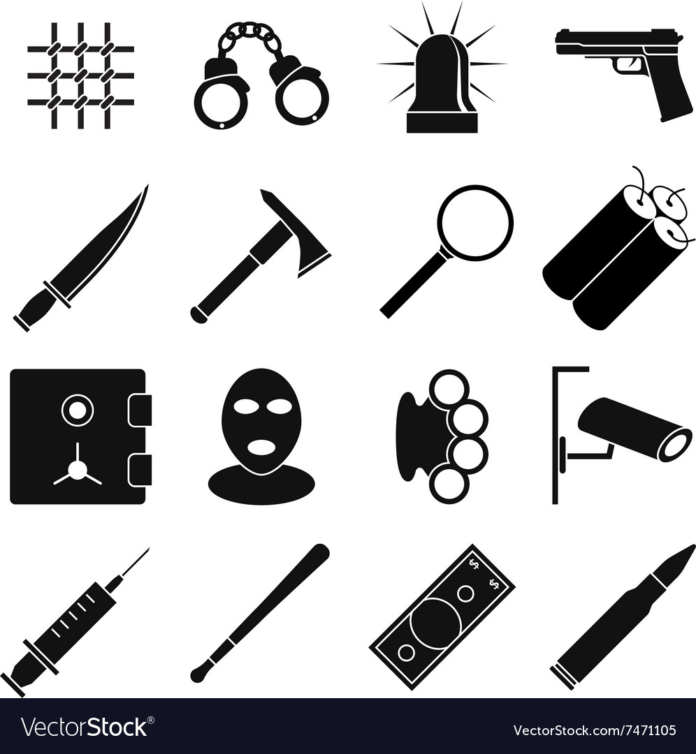 Crime icons set vector