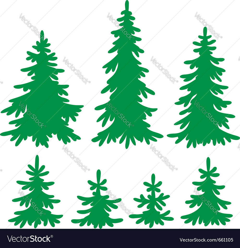 Set of firtrees silhouettes vector