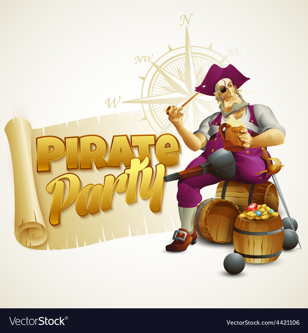 Pirate party poster vector