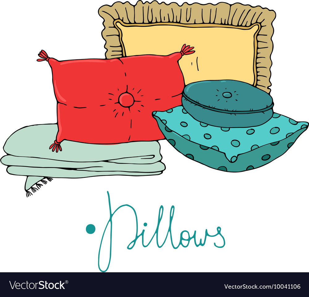 Types of sleeping pillows set vector
