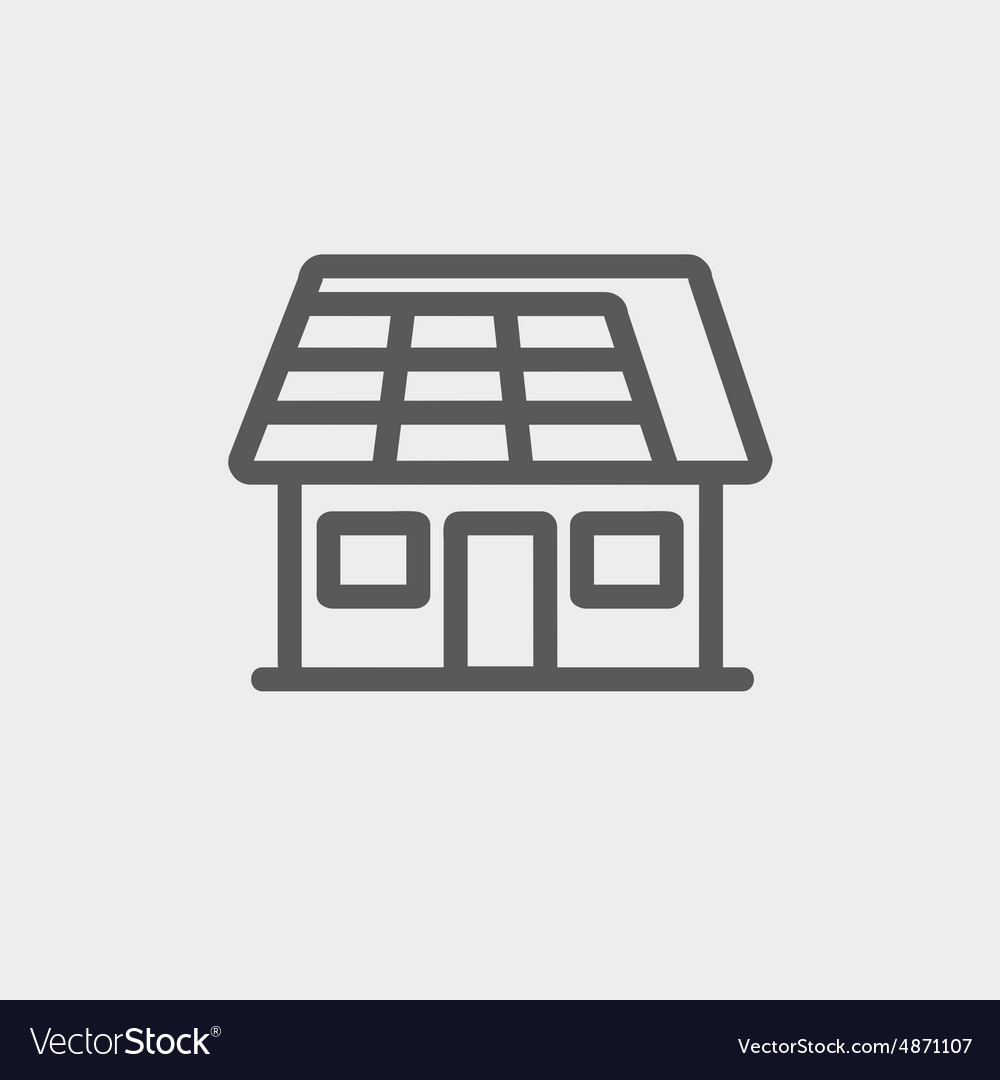 House with solar panel thin line icon vector