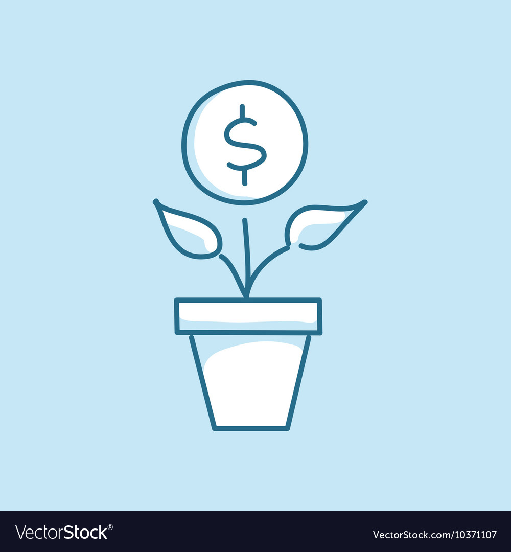 Money tree in a pot line style business vector