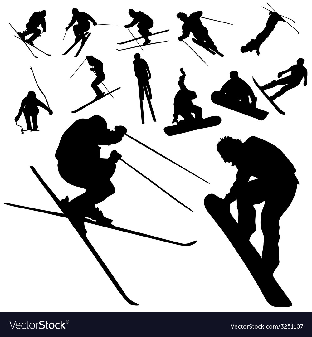 Ski and snowboarding people silhouette vector