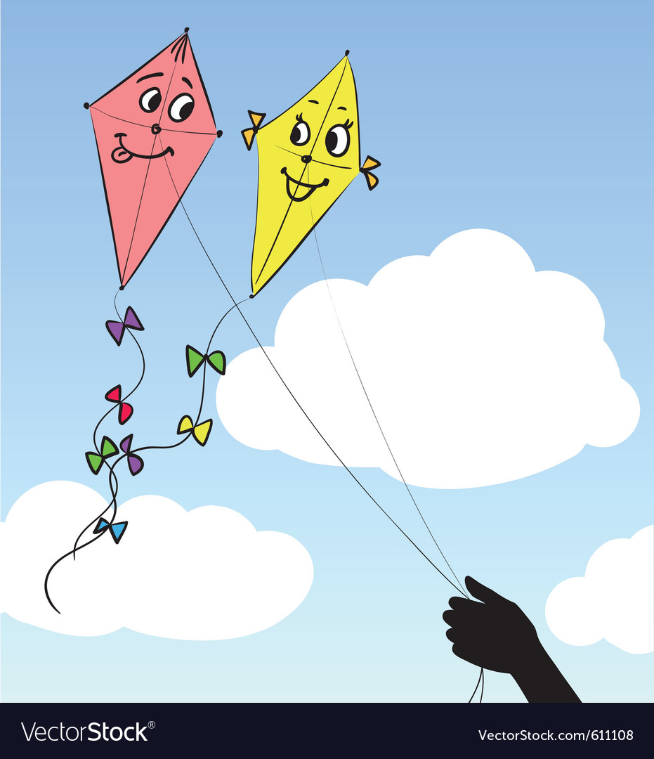 Two kites in the sky vector