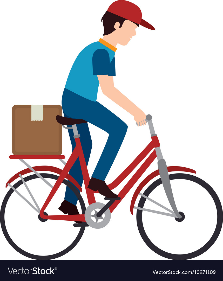 Bike delivery man box vector