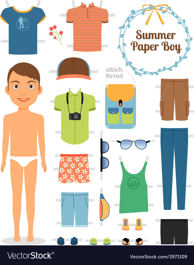 Paper doll boy in summer clothes and shoes vector