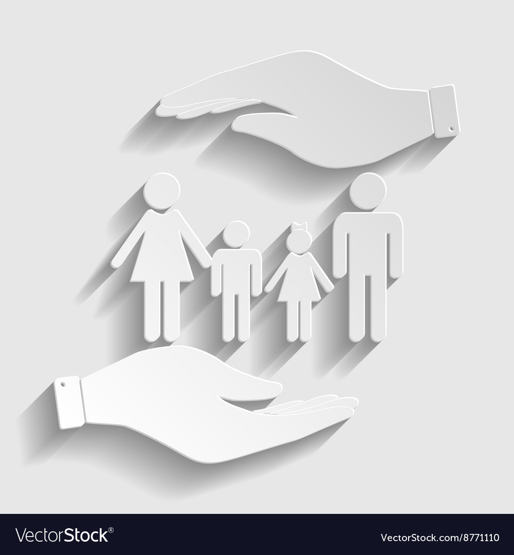 Family sign paper style icon vector