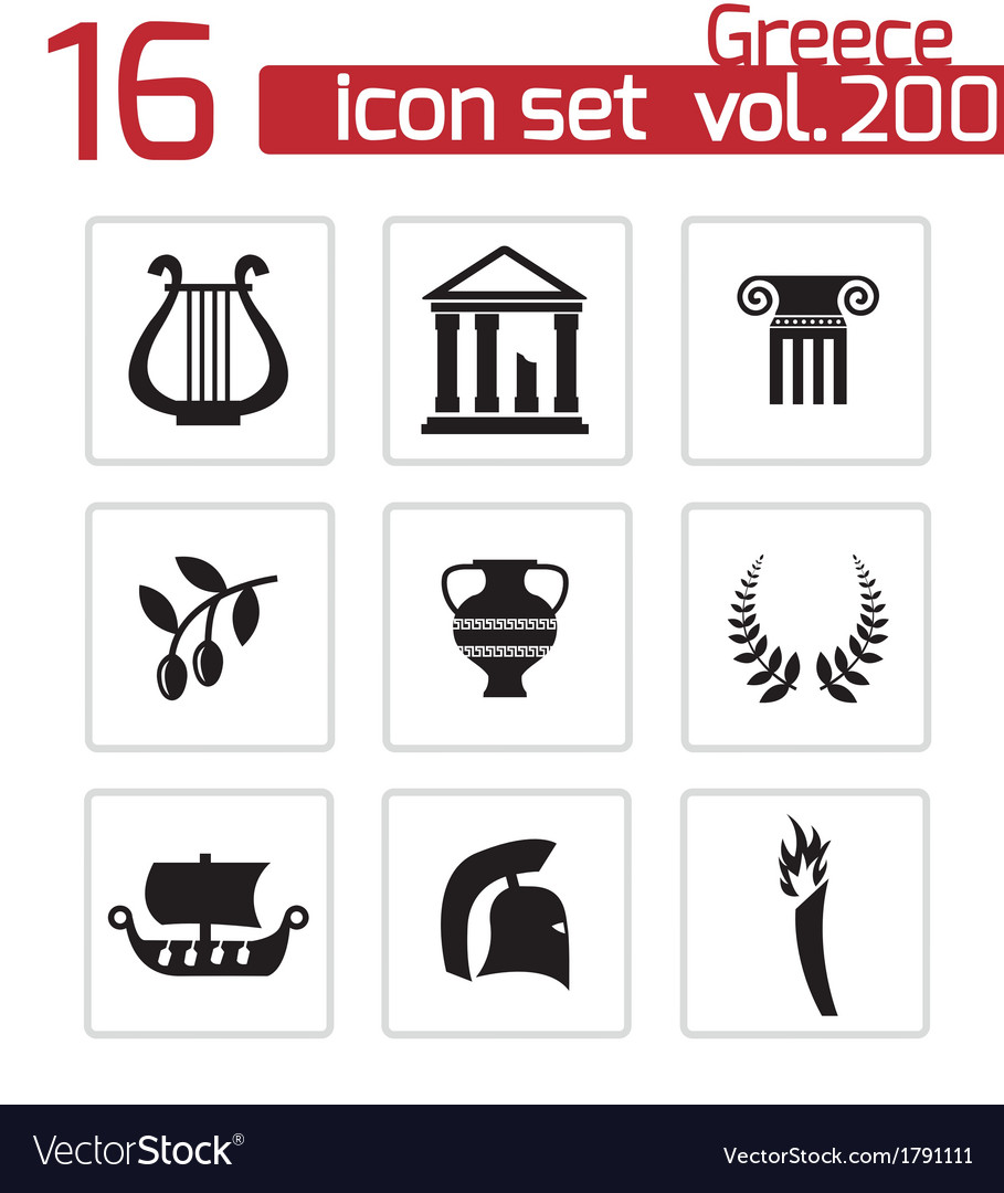 Black greece icons set vector