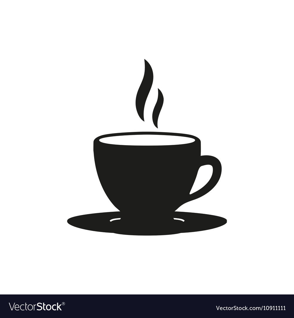 Coffee cup simple black icon on white background vector
