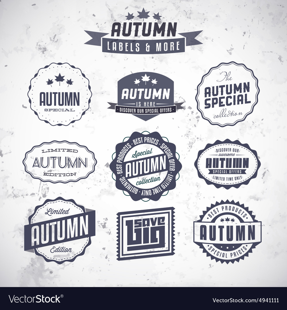 Set of autumn sales related vintage labels vector