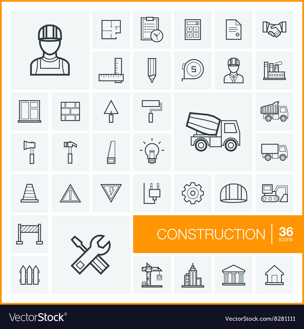 Thin line icons set and graphic design vector