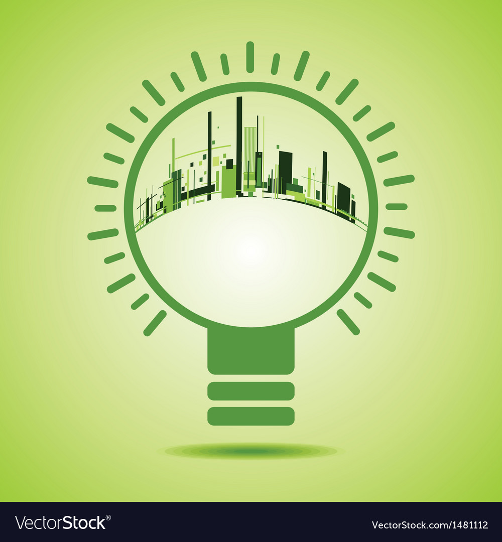 Eco city inside of a green light bulb vector