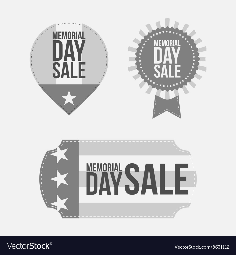 Memorial day retro labels set on white background vector