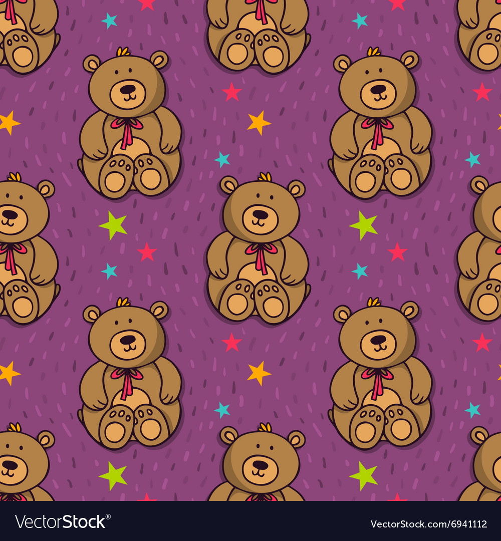 Seamless pattern with cute teddy bear vector