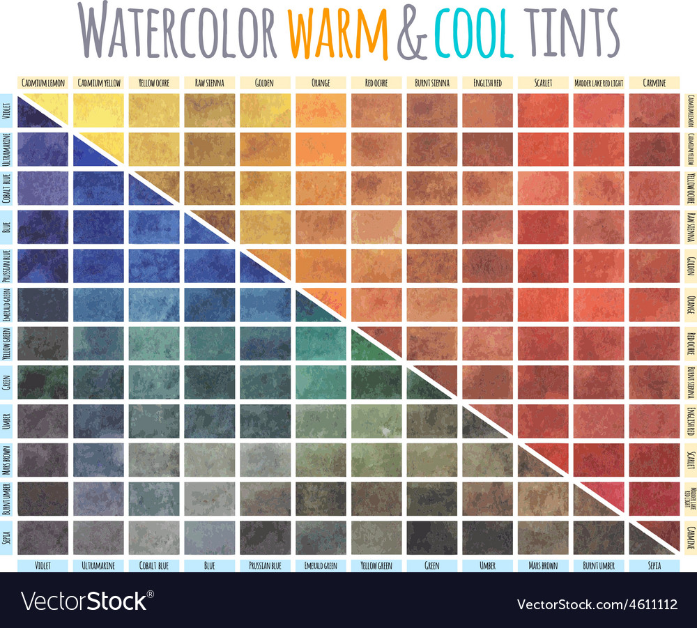 Watercolor warm and cool tints vector