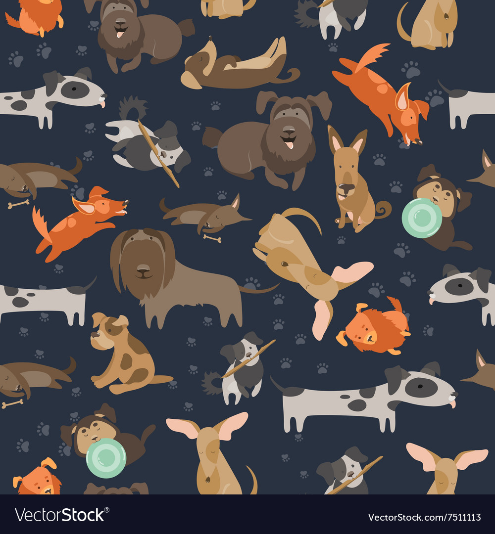 Cartoon dogs seamless pattern vector