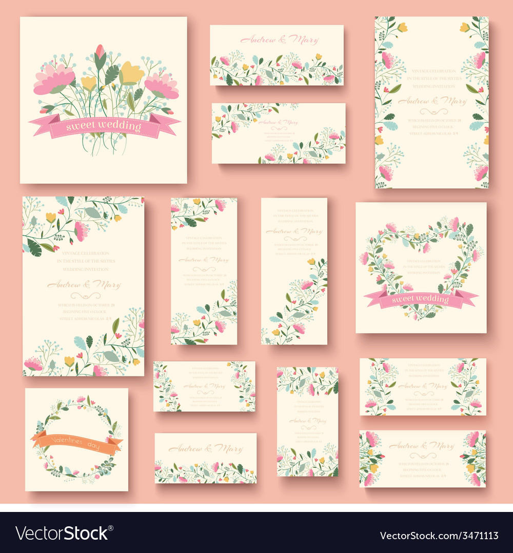 Colorful greeting wedding invitation card set flow vector