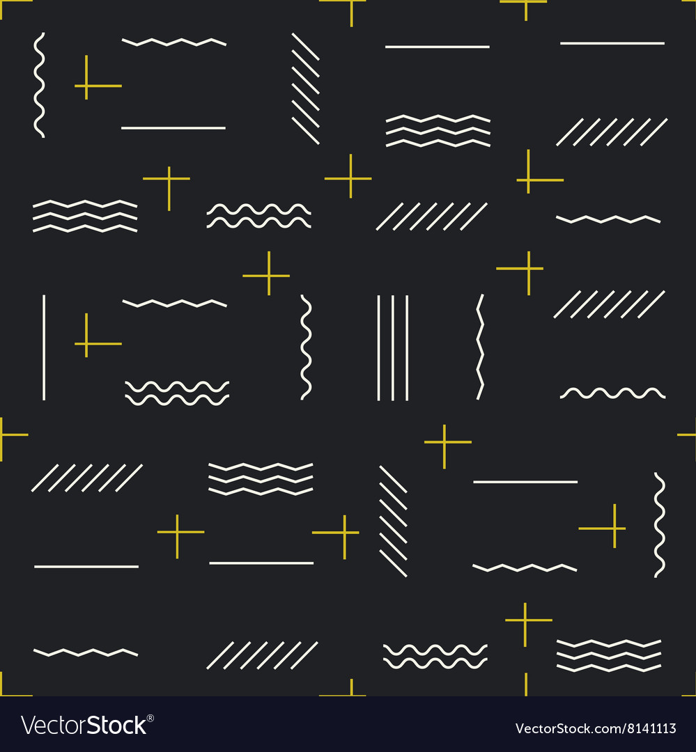Geometric lines seamless pattern with golden vector