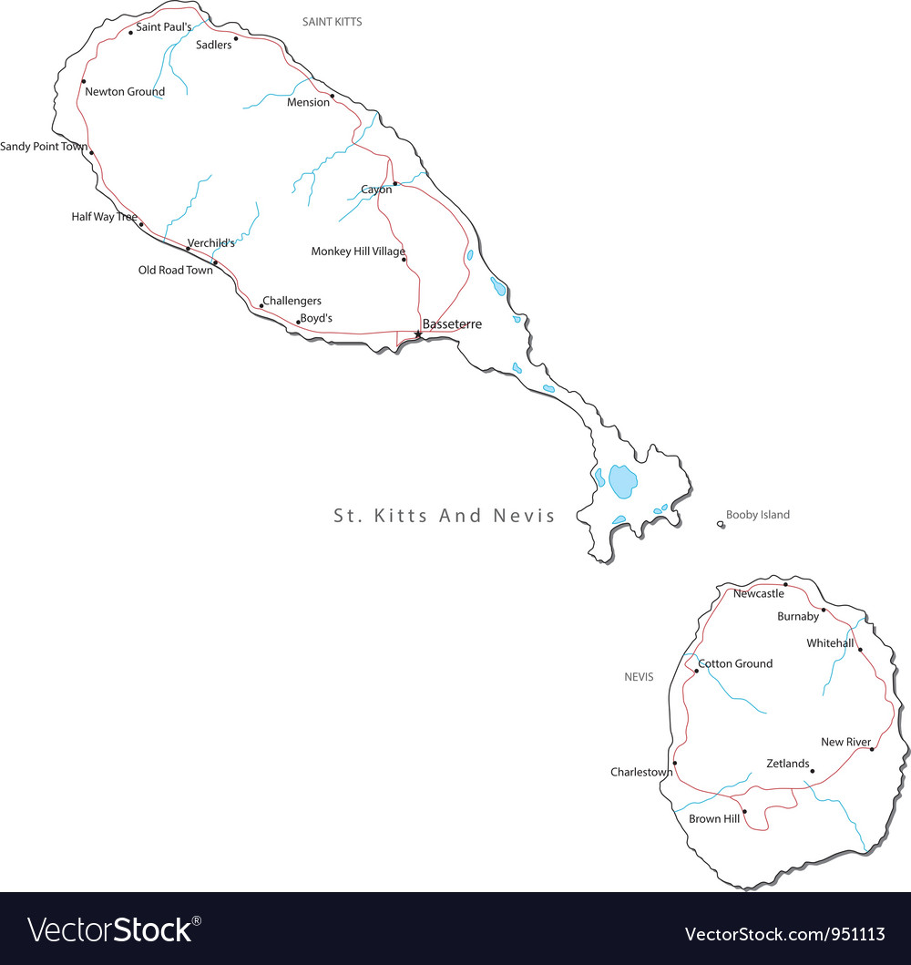St kitts and nevis black white map vector