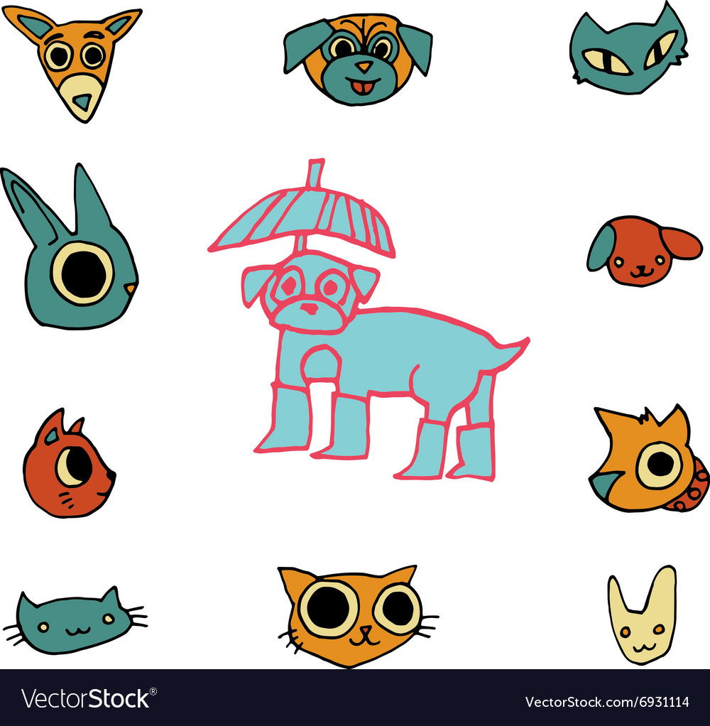 Cartoon flat animals set icon stickers vector