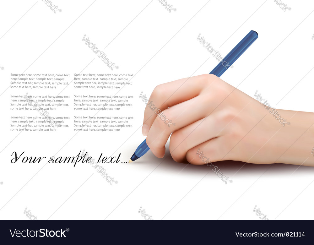 Hand with pen writing on paper vector
