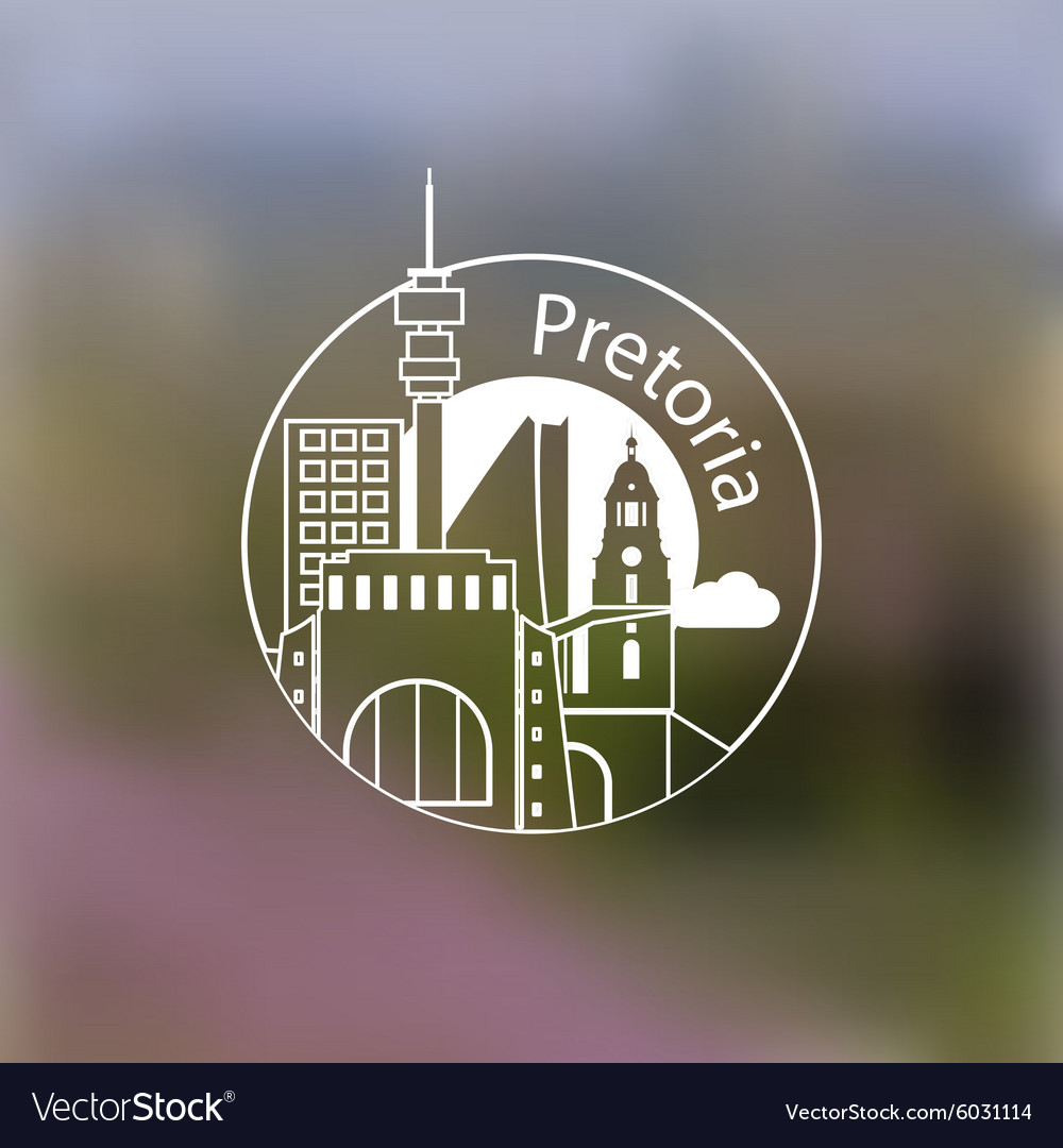 Minimalist round icon of pretoria south africa vector