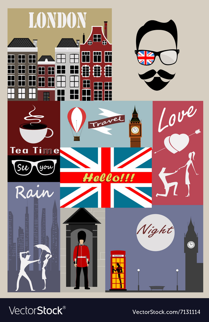 Retro style poster with london symbols vector