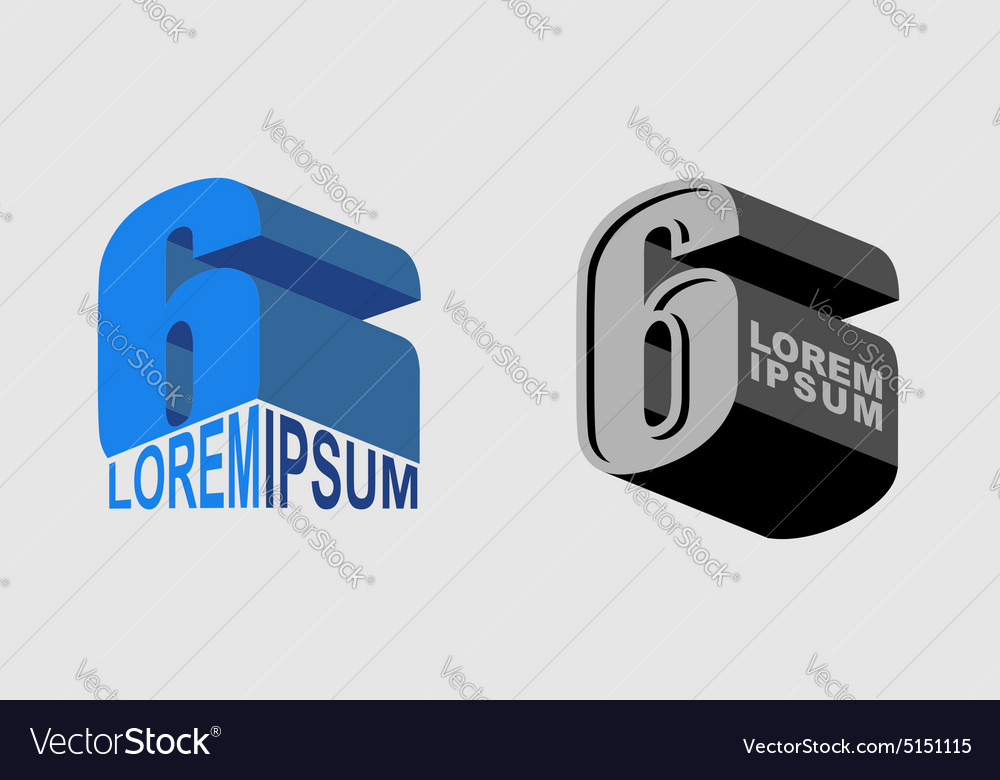 Number 6 figure 6 set logo or corporate identity vector