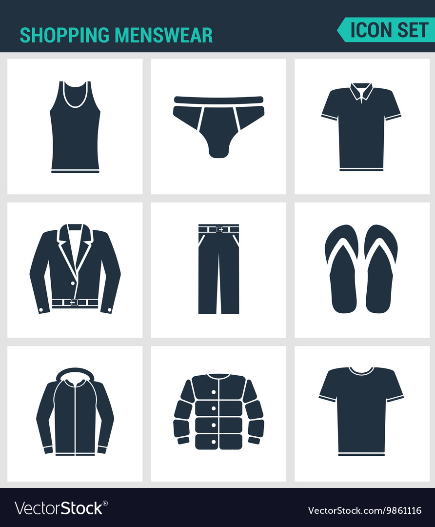 Set of modern icons shopping menswear t vector