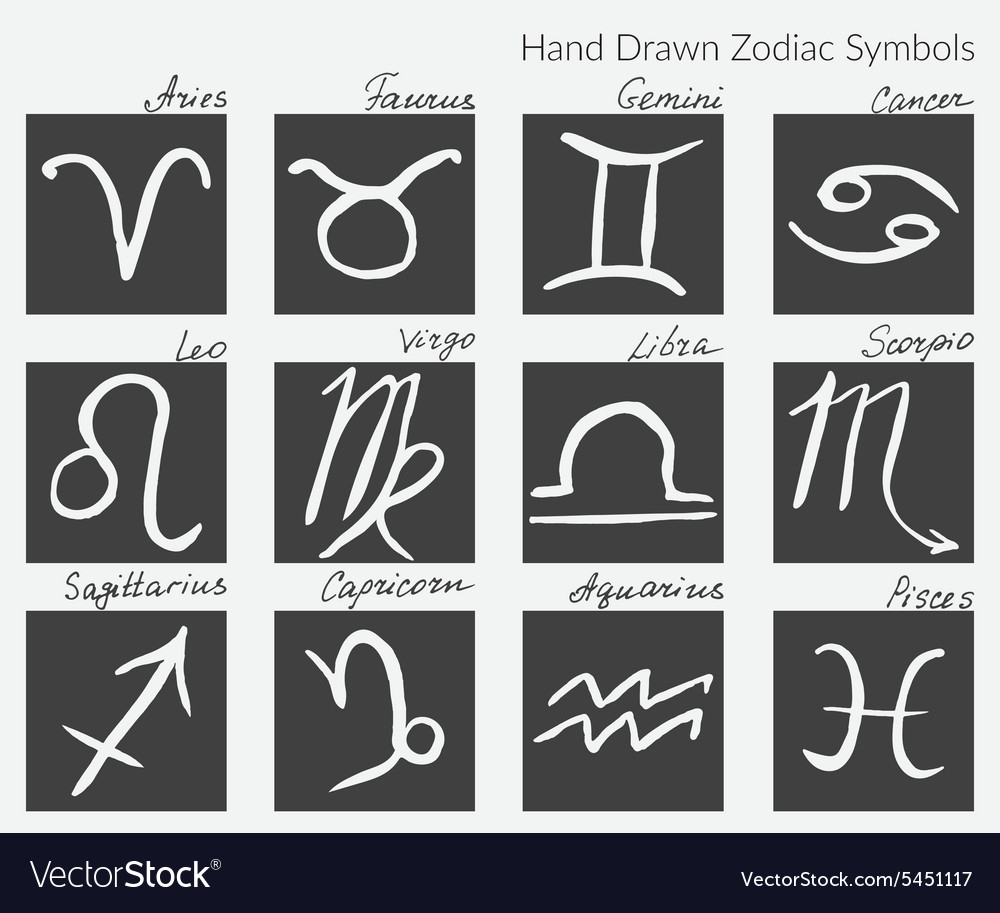 Collection of zodiac signs hand drawn zodiac vector