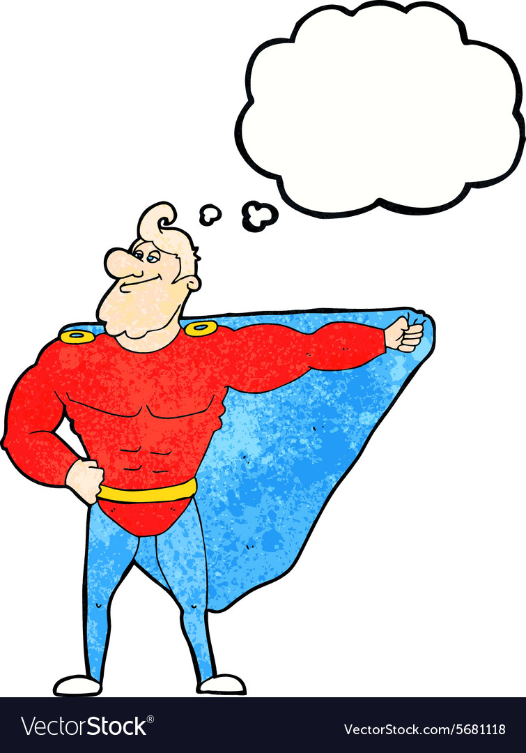 Funny cartoon superhero with thought bubble vector