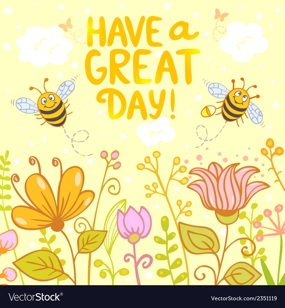 Flowers and bees color vector