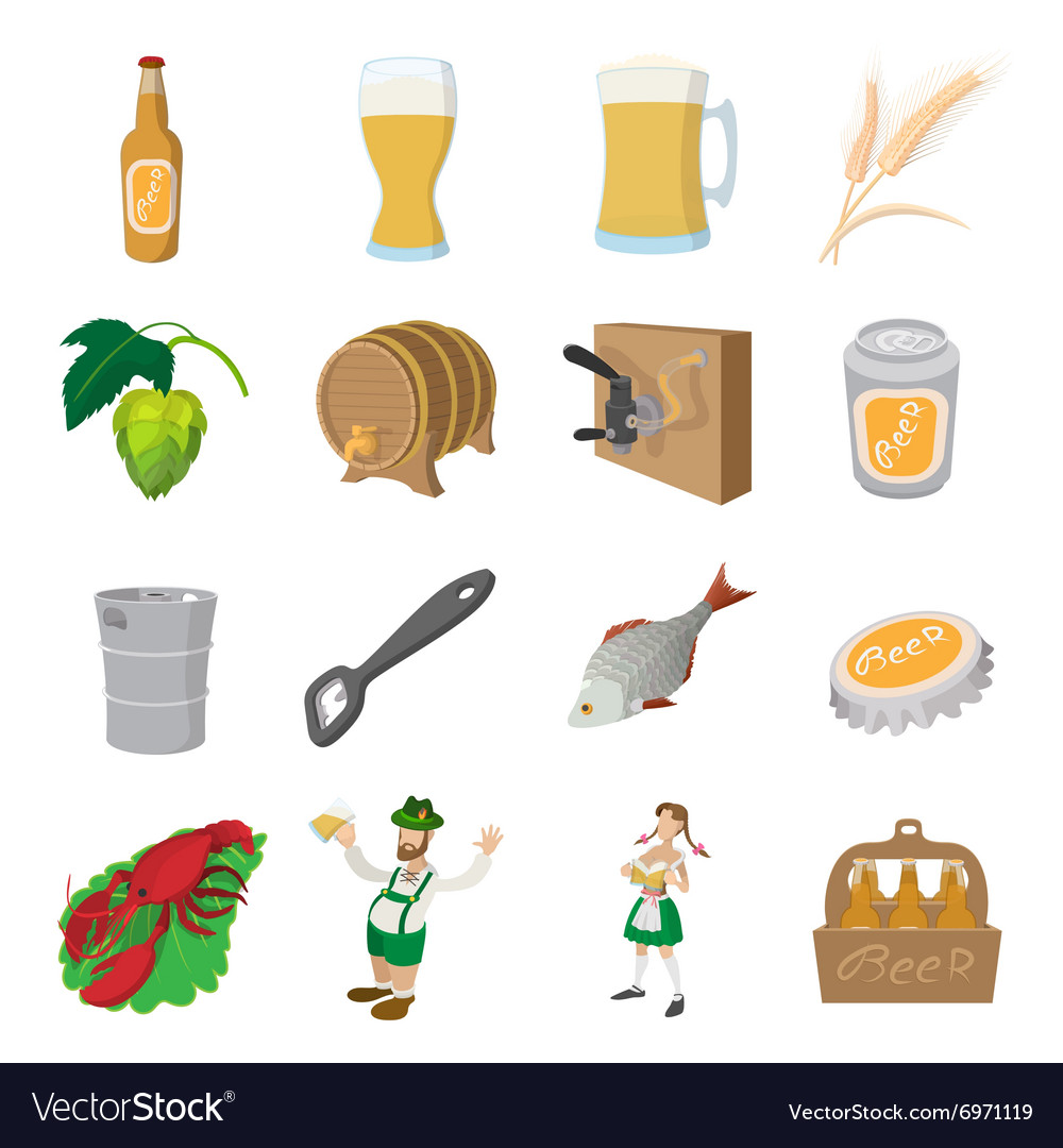 Oktoberfest beer cartoon icons set vector