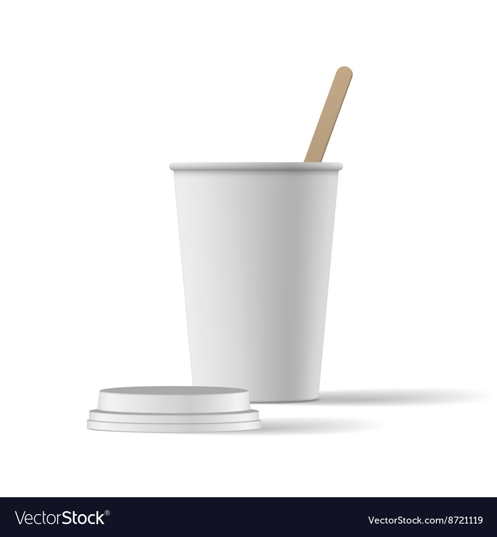 White coffee cup with cap realistic mockup vector