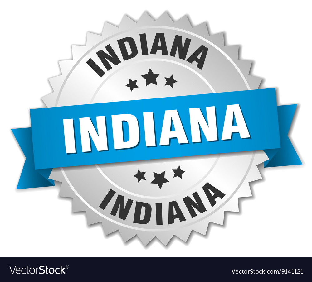 Indiana round silver badge with blue ribbon vector