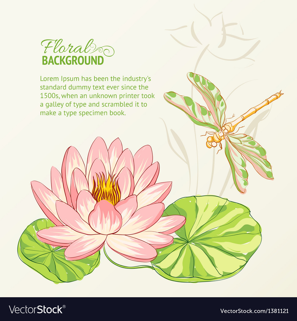 Watercolor painting of lotus and dragonfly vector