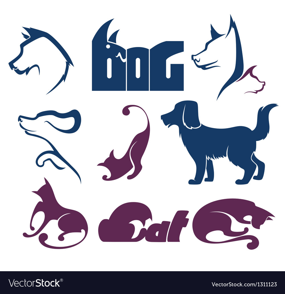 Cats and dogs lovely pets vector