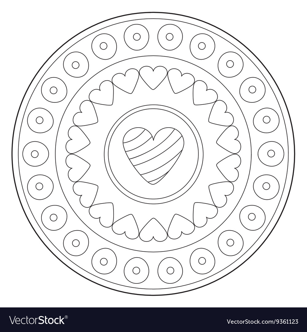 Coloring lovely heart ornament vector