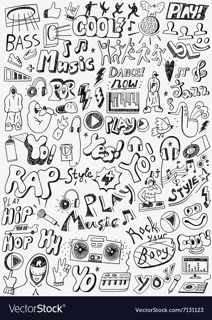 Music doodles set vector