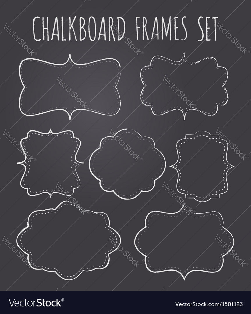 Vintage chalkboard style frames collection vector