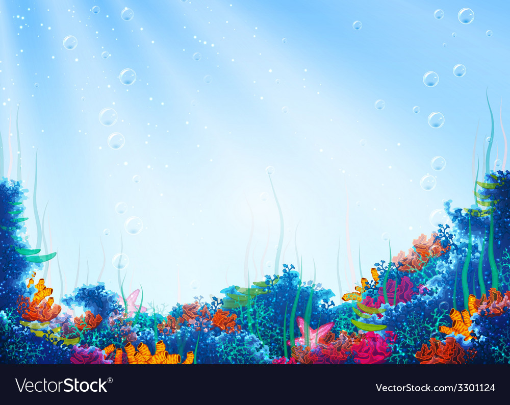 Background with underwater cave vector