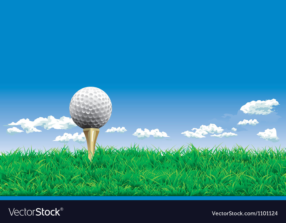 Golf ball on a tee simple golf background vector